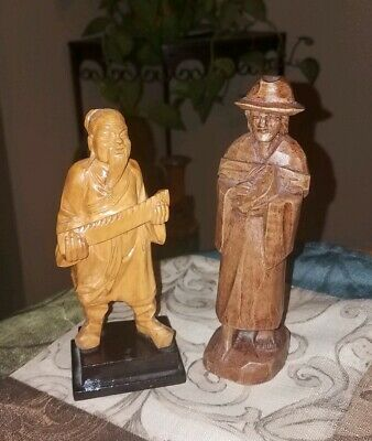 Lot of 2 Vintage ASIAN/CHINESE  Carved Wood Figures~Sculptures!
