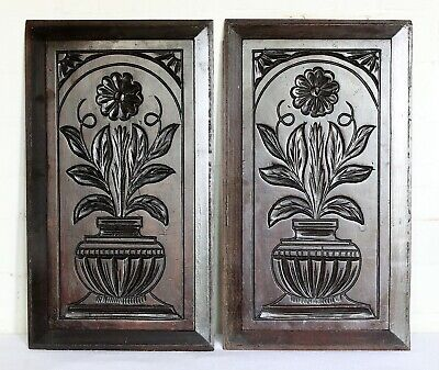 A Pair of Antique French Carved Wooden Panels Plaques Salvaged Interior Design