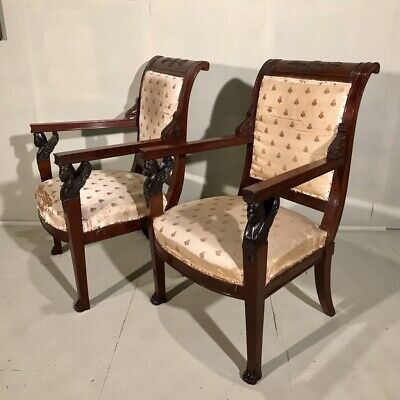 Pair of French c19th Empire library armchairs with sphinx heads for upholstery