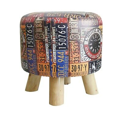 Vintage Retro Footstool Padded PU Leather Cover Round Pouffe Solid Wood Legs