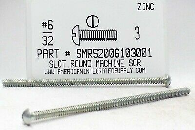 #6-32x3 Round Head Slotted Machine Screws Steel Zinc Plated (50)