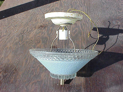 Blue Glass And Clear 1940'S Center Hole Cieling Fixture