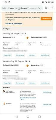 2 Return Flights from Luton to Reykjavik, Easyjet, 18th to 28th August 2019.