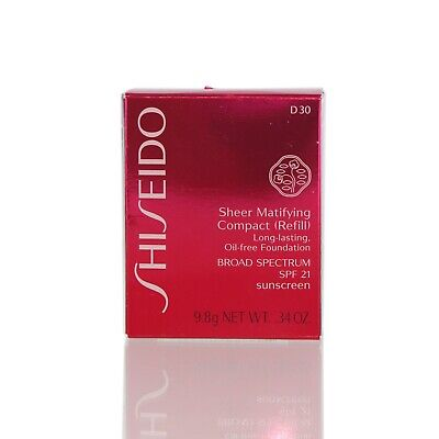 Shiseido Sheer Matifying Foundation Refill D30 Very Rich Brown .34 Oz- NIB