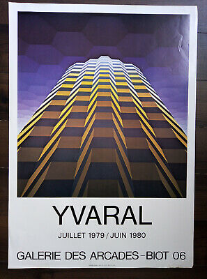 Affiche d'exposition YVARAL Jean-Pierre Vasarely Expo 1979 BIOT Art Poster