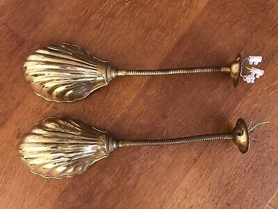 A pair of Vintage 20th century brass shell shade picture desk lights