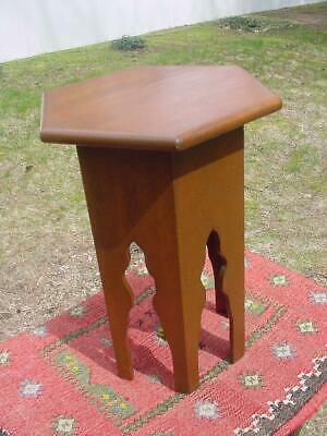 Oak Arts & Crafts Hexagonal Tabouret Pyrography Cherries Plant Stand Nice Patina