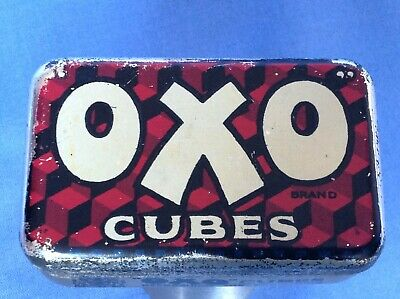 Vintage OXO Cube Tin - 6 Cube - Red Fray Bentos Suet Advert In Lid - Very Rare