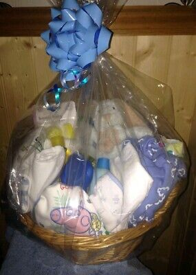 Baby boy born in 2019, Johnsons, Hamper/gift basket with cellophane and bow