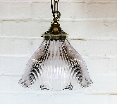 Antique Original Holophane Prismatic Glass Ceiling Light Pendant Ornate Gallery