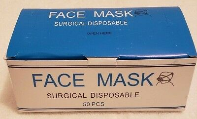 NEW: Blue Disposable Surgical Face Mask with Ear Loops, 3-Ply, 50 Count