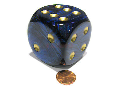 Scarab 50mm Huge Large D6 Chessex Dice, 1 Piece - Royal Blue with Gold Pips