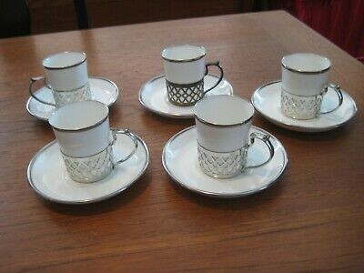 Crown Staffordshire Demitasse Cup & Saucer Fine Bone China England with Holder