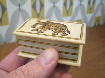 Anglo Indian Antique Style Camel Bone Snuff Box With Hand Painted Elephant