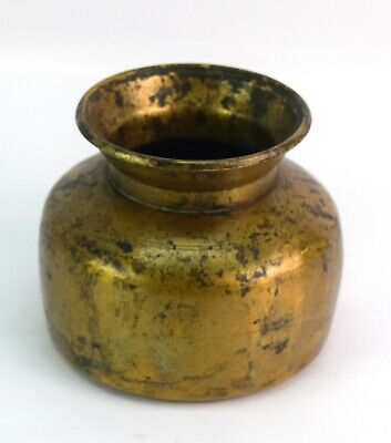 Antique Hand Made Brass Hindu Holy Water Pot / Vessel Ethnic Decor. G56-116 US