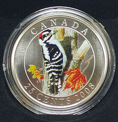 2008 Canada 25-Cent Coin - Downy Woodpecker - By RCM