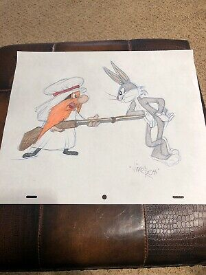 Virgil Ross Sketch - Bugs Bunny And Yosemite Sam. Signed 12.5x10.5""