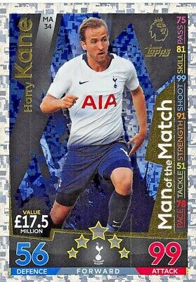 Match Attax Extra 2018/19 Harry Kane Man Of The Match Ma34 Mint