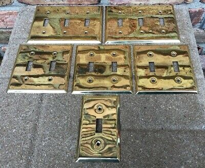 Vintage Lot Of 6 Shiny BRASS Light Switch Cover Plates Triple Double Single Gang
