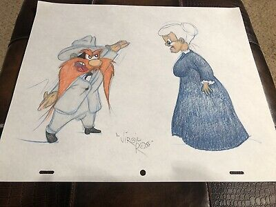 Virgil Ross Sketch - Yosemite Sam And Granny. Signed 12.5x10.5""