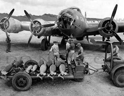 Antique 8X10 Repro Photo B 17 Flying Fortress Being Loaded With Bombs
