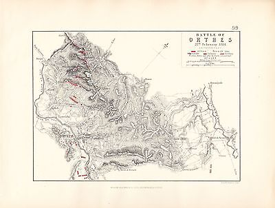 MAP/BATTLE PLAN ~ BATTLE OF ORTHES ~ 27th FEBRUARY 1814
