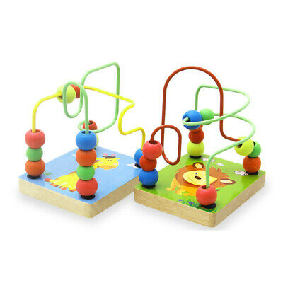 Wooden Toys Baby Math Colorful Around Beads Wire Maze Educational Toy FW