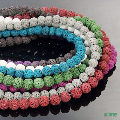 Multi Color Volcanic Lava Gemstone Round Beads 15.5'' 4mm 6mm 8mm 10mm 12mm DIY