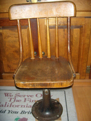 Antique school chair with metal base Boston Mass. Kenny Bros & Wolkins