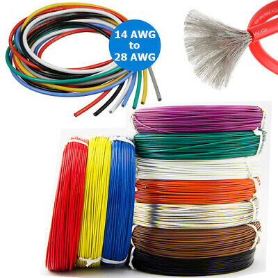 14 AWG ~ 28AWG Silicone Wire Cable Copper Line Tinned Flexible Stranded 2/5M 10M