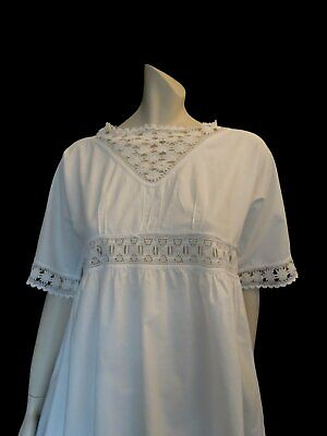 Antique, Edwardian Nightgown With Crochet Trim -  Summer Dress - Bust 91 cm