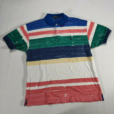d5e4787bf Nautica Striped Polo Shirt XL VTG 90s White green blue yellow red Short  Sleeve