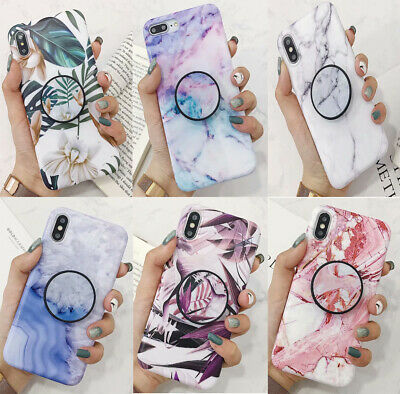 Colors Leaf Marble Chic TPU case cover Put up holder f iPhone XS Max XR X 7 8 6S