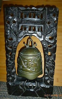 Vintage Antique Oriental Bronze Dragon Temple Bell Carved Wood Frame Bead Eyes