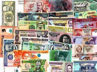 Bundle of Over 50 Different Countries World Currency with Polymer Notes Unc Lot