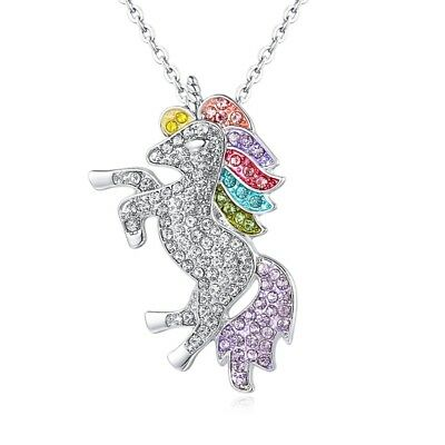 Unicorn Pendant Necklace Chain Flying Horse Kids Girls Jewellery Party Gifts NEW