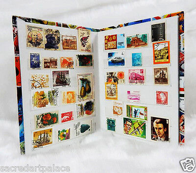Premier Stamp Album stock Book + 500pcs Different Old Vintage World Stamps Lot