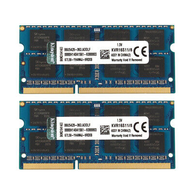2X 8GB PC3-12800S DDR3 1600MHz 2RX8 Laptop RAM Memory SO-DIMM Intel For Kingston