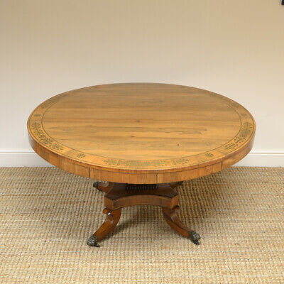 Spectacular Mellow Rosewood and Brass Inlaid Regency Circular Centre Table