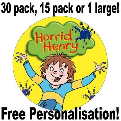 Horrid Henry Cartoon Kids Personalised Name Birthday Edible Cupcake Cake Toppers