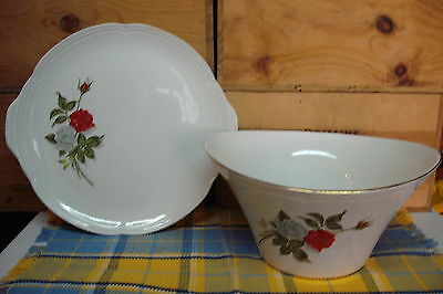 Dining Serving Bowl & Plate Set, 2 Piece Vintage French Ceramic, White Red Roses