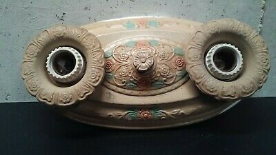 PAINTED BRASS CEILING MOUNTED LIGHT FIXTURE-ART DECO 1920-30's VICTORIAN