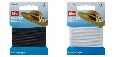 PRYM 1.5mm Black or White Round Cord Elastic - 3m - Beading - Millinery