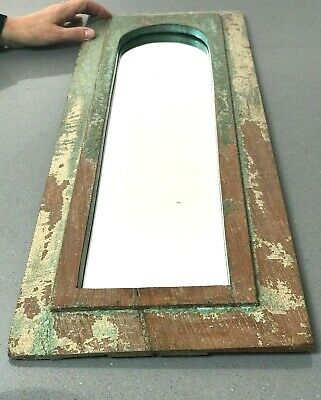 Antique Vintage Indian Mirror. Large Arch Temple Mirror. Sage Cappuccino