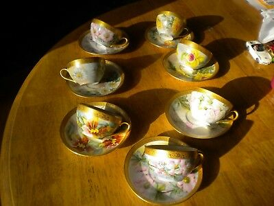 Antique Limoges 7 Fine Bone China Tea Cup or Coffee Cups matching sausers