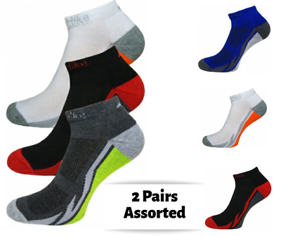 Trainer Ankle Liner Socks Mens 2 Pair Mix Colored Boys Cotton Stretch Sock