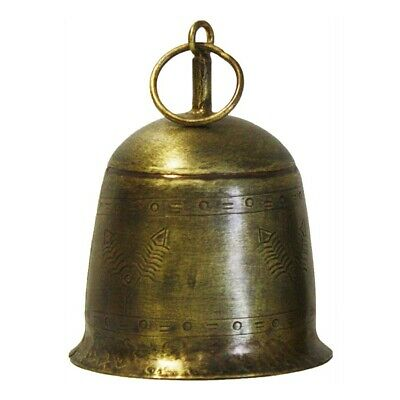 Vingage Etched Bell Hanger Chime Hanging Sign Decor Metal Brass Gold 10X15Cm