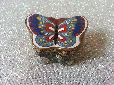 Chinese Cloisonne Butterfly Pill Trinket Box