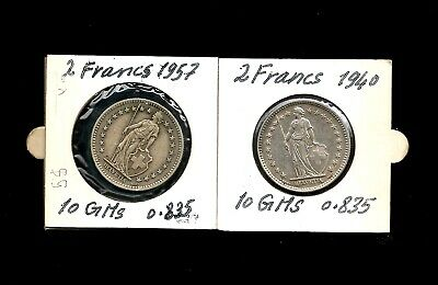 SWITZERLAND COINS AMAZING LOT 2 x 2FRANCS 1940 &1957 EACH 10 GM SILVER  83.5%