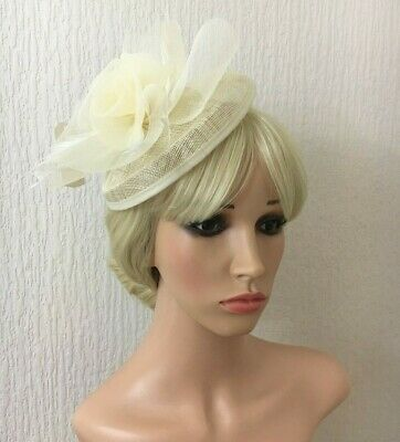Ladies Sinamay Fascinator ivory Cream Floral Feathers Headband Fitting Weddings